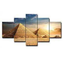 <b>Laeacco Canvas</b> Painting Calligraphy <b>5 Panel</b> Places of Interest ...