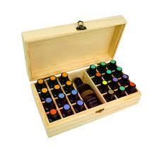 CHUWUJU 25 <b>Slots</b> Wooden <b>Essential Oils</b> Box Solid Wood Case ...