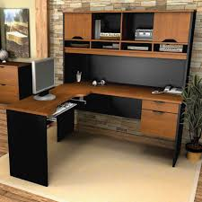 large surface l shaped desk with hutch in black and brown color plus computer on wooden black desks for home office