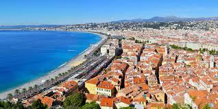 Panoramablick auf Nizza, bei der Côte d'Azur (Alpes-Maritime, Provence-Alpes-Côte d'Azur, Frankreich), von der Zitadelle