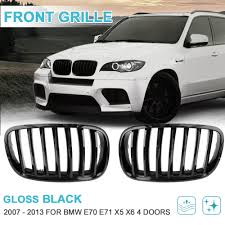 <b>UXCELL 2PCS Front Gloss</b> Black Dual Slat Bumper Kidney Grille ...