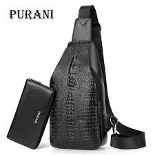 <b>PURANI Men Chest Pack</b> Crossbody Bags Crocodile Alligator ...