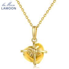 LAMOON <b>Romantic</b> Heart Necklaces & Pendants Natural <b>Citrine</b> ...