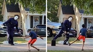 <b>Michael Myers</b> Has <b>Halloween</b> Dance-Off With Neighbor Kid