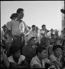 baseball in american concentration camps history photos and onlookers watch a baseball game at manzanar concentration camp photo by dorothea lange