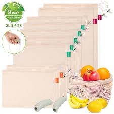 Reusable Cotton Produce <b>Bags</b>, 【9+2 PCS】PEMOTech Organic ...