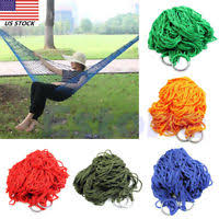 outdoor sport hammock net mesh bed nylon portable camping with hooks for garden beach yard travel grass green
