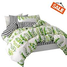 VClife Leaves <b>Bedding Sets</b> Queen Duvet Cover Sets <b>Stripe</b> Duvet ...
