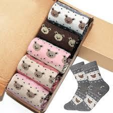<b>5 Pairs Fashion</b> Kawaii Women Socks Cartoon Bear <b>Striped</b> Lovely ...