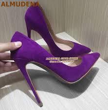 ALMUDENA Suede Pointed Toe <b>Stiletto Heels</b> Dress Pumps ...