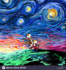 calvin and hobbes on vincent van gogh s starry night painting calvin and hobbes on vincent van gogh s starry night painting effect