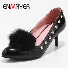 <b>ENMAYER</b> Fur Ball Shoes Pumps Womens High Heels Round Toe ...