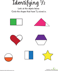Identifying the Fraction 1/2 | Worksheet | Education.comFirst Grade Fractions Worksheets: Identifying the Fraction 1/2