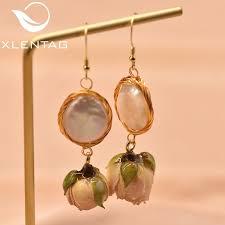2019 <b>XlentAg Natural</b> Fresh Water <b>Baroque Pearl</b> Dangle Earrings ...