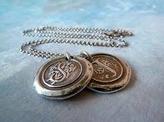 <b>Bronze</b> Wax Seal Monogram Necklace <b>Custom</b> by ...