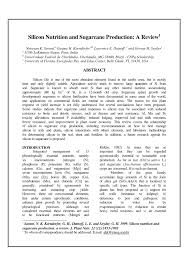 (PDF) <b>Silicon</b> nutrition and sugarcane production: A review