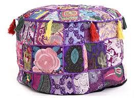 Purple <b>Embroidery Pouf</b> Ottoman <b>Pouffe</b> Cover Ethnic Decorative ...