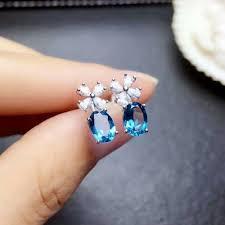 2019 <b>Shilovem 925 Silver Sterling</b> Natural Blue Topaz Stud Earrings ...