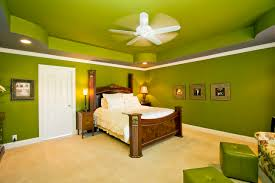 eclectic bedroom decorating and arrangement idea pouf green wall ceiling fan recessed baseboards ceiling fan