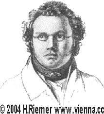 Franz Schubert, Zeichnung von L. Kupelwieser, 1821 1819 bereiste Schubert nach Oberbayern. 1823 erkrankte er schwer, auch blieben seine Opernversuche ... - schubert_grafik