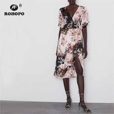 <b>ROHOPO</b> Three Quarter <b>Sleeve Red</b> Floral Black Jumpsuit Autumn ...