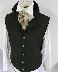 Regency Style Waistcoat Vest <b>Black</b> Rococo <b>Tailored</b> (also in <b>Red</b> or ...