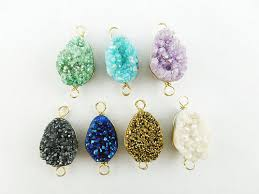 <b>Natural</b> Druzy Gemstone Brass <b>Findings Jewelry Connector</b> - Silver ...