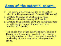 political system and process this section will cover all potential    some of the potential essays…  the political system provides an effective check on