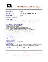 resume of preschool teacher  benjerry copreschool teacher resume