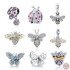 <b>100</b>% Genuine <b>925 Sterling</b> Silver Crystal Butterfly Charms Pendant ...