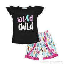 2019 <b>Wild Child Printing</b> Feather Outfits For Girls Trendy Flutter ...