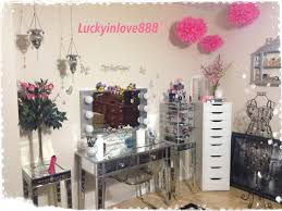 charming hayworth vanity with mirror and lights plus other makeup tools and drawers on wooden floor for inspiring makeup room ideas charming makeup table mirror lights