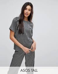 Пижамная <b>футболка</b> и брюки в монохромную полоску ASOS TALL ...