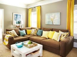 decoration chic yellow color accent in living room decoration with brown sofa facing white table chic yellow living room