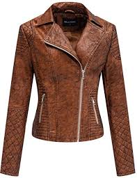 Bellivera <b>Women's</b> Faux Leather Short Jacket,Frosted Moto <b>Casual</b> ...