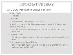 th english litcomp informative essay comparecontrast   ppt  informative essay all good informative essays contain single topic focused structure start with intro