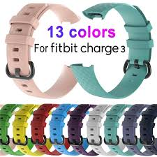 <b>Replacement Silicone Wrist Strap</b> Band For Fitbit Charge 3 Sports ...
