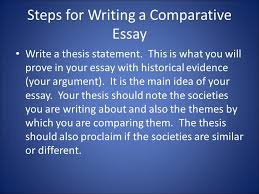 comparison defined regular definition explain the similarities  steps for writing a comparative essay write a thesis statement this is what you will
