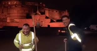Edinburgh <b>father and son</b> street cleaners go viral dancing on Castle ...