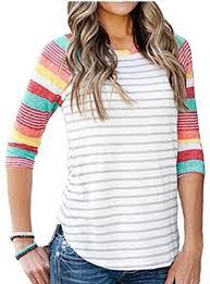 <b>Women's</b> Athletic Style Casual Blouse - <b>Rainbow Striped</b> Sleeves ...