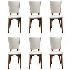 set of 6 french art deco walnut art deco dining chairs