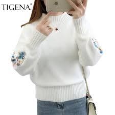TIGENA Embroidery <b>Turtleneck Sweater Women</b> 2019 <b>Winter</b> Thick ...