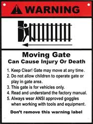 ALEKO | WARNING Moving Gate Plastic Sign <b>8</b> x <b>10.5 inch</b>