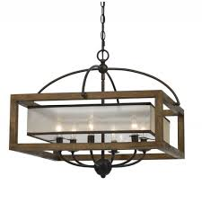 cal lighting fx 35366 6 light square chandelier in wood cal lighting wood chandelier