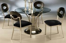 metal dining room chairs chrome: stainless steel dining room table round glass top curved pedestal black seater curved back chairs chrome chandelier gourd vase