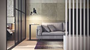 white kitchen windowed partition wall: the bedroom segues from the living room sharing the same glass wall partition a wide bed takes centre stage giving the impression of ample square