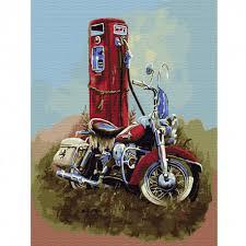 <b>Харлей Дэвидсон</b> Картина по номерам на холсте с <b>цветной</b> ...