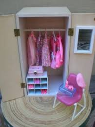barbie doll house pink wardrobe vignette room furniture accessories bedroom closet clothes barbie furniture for dollhouse