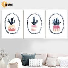 <b>Watercolor Cactus Potted Plants</b> Vintage Wall Art Canvas Painting ...