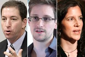 Glenn Greenwald, Edward Snowden, Laura Poitras (Credit: AP/Eraldo Peres/Reuters/Mario Anzuoni). I was humbled to have dinner in Washington, D.C., ... - greenwald_snowden_poitras